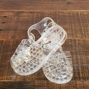 Kali Sandals Jellies Closed Toe Ankle Strap Clear
